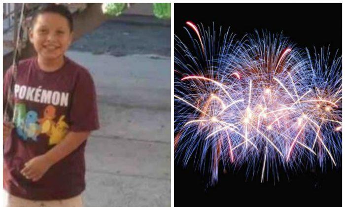 Aaron Carreto, de 10 años de edad, resultó herido cuando explotó un fuego artificial que le entregaron. A la derecha, fuegos artificiales en una foto de archivo. (Aaron's Firework Accident Recovery Fund/GoFundMe; Jingda Chen/Unsplash)