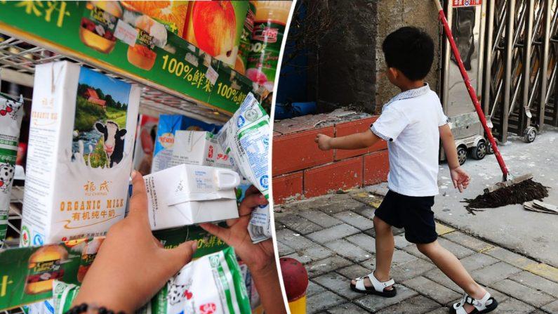 (I) Leche para la venta en China. (Frederic J. Brown/AFP/Getty Images) - (D) Un niño fuera de una escuela en China. (Greg Baker/AFP/Getty Images)