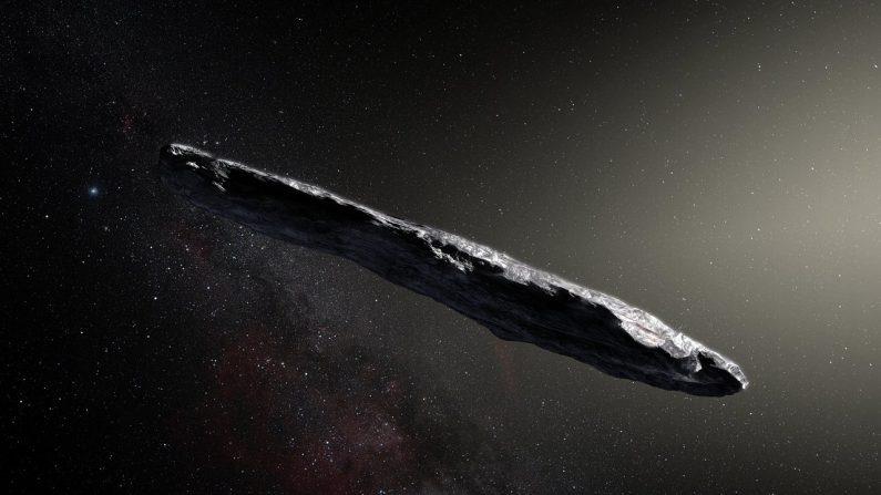 Ilustración del asteroide interestelar Oumuamua. (European Southern Observatory/M. Kornmesser)