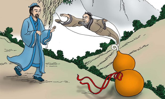 Fei Changfang vio cómo el anciano saltó dentro de una calabaza. ( Sun Mingguo / La Gran Época)