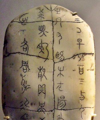 Caracteres chinos: un ejemplo de un caparazón oráculo con inscripciones de los caracteres chinos más tempranos. (Wikipedia)