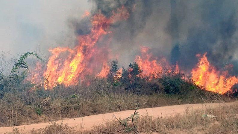 Fotografía del 21 de agosto de 2019, cedida por la Brigada Municipal que muestra uno de los incendios que azotan la Amazonía brasileña, en Porto Velho, capital del estado amazónico de Rondonia (Brasil).EFE/Brigada Municipal