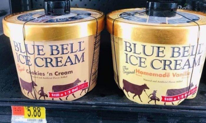 Recipientes de helado de la marca Blue Bell en Fulshear, Texas. (Departamento de Policía de Fulshear)
