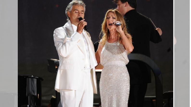 Andrea Bocelli y Céline Dion actúan en el Gran Césped del Parque Central de la Ciudad de Nueva York el 15 de septiembre de 2011 (Jason Kempin/©Getty Images)