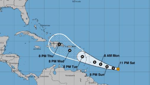 La Tormenta Tropical Dorian al sureste de las Antillas menores el domingo 25 de agosto de 2019. (NHC-NOAA)