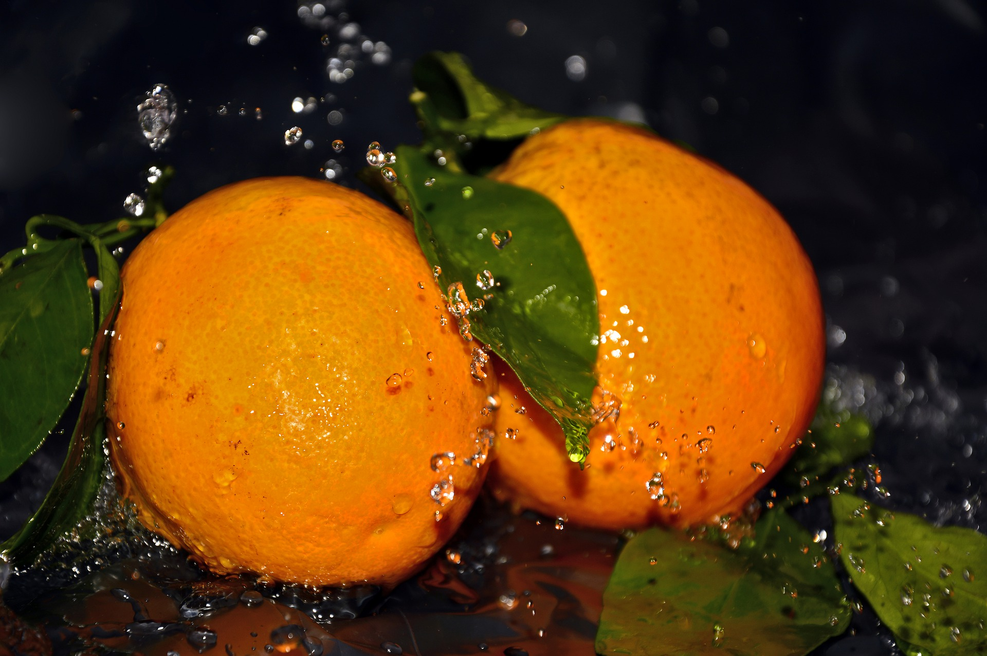 naranjas, agua