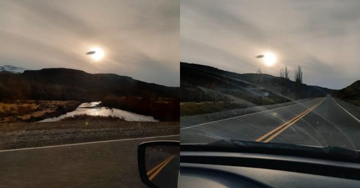 Foto del OVNI compartida por el intendente argentino de la localidad de Las Ovejas, Héctor Vicente Godoy/Twitter.