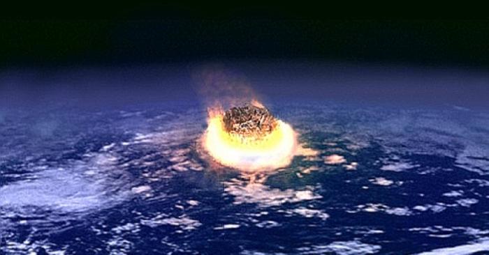 Foto ilustrativa de un artista de un evento de gran impacto. La colisión entre la Tierra y un asteroide de unos pocos kilómetros de diámetro liberaría tanta energía como la detonación simultánea de varios millones de armas nucleares. Wikipedia. Public Domain.