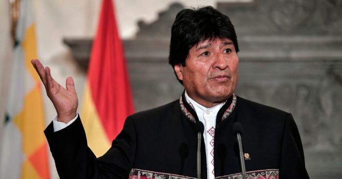 El expresidente boliviano, Evo Morales, hace declaraciones a la prensa en Atenas el 15 de marzo de 2019. Foto de LOUISA GOULIAMAKI/AFP/Getty Images.