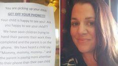 Mamá publica la foto de un aviso en la guardería sobre el uso de los teléfonos y crea un gran debate