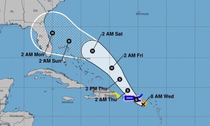 Relógios costeiros / avisos e previsão Cone para o furacão Dorian (Centro Nacional de Furacões)