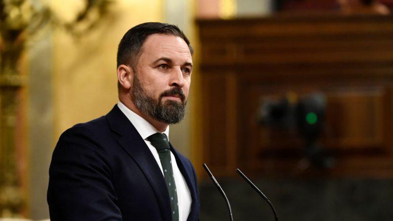 El líder del partido de derecha español VOX, Santiago Abascal, en el Congreso español (Las Cortes) el 25 de julio de 2019, en Madrid. (OSCAR DEL POZO/AFP/Getty Images)