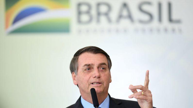 El presidente brasileño Jair Bolsonaro en el Palacio de Planalto en Brasilia el 16 de agosto de 2019. (EVARISTO SA/AFP/Getty Images)