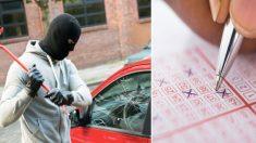Roban lentes de sol a un auto sin saber que había un boleto de lotería de un millón de dólares
