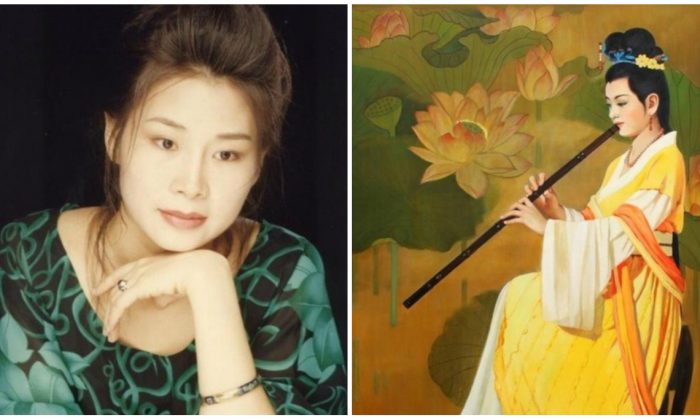 Zheng Aixin (izquierda) y una pintura que intentó enviar a la Competencia Internacional de Pintura de la Figura Humana, un evento cultural mundial de arte que es llevado a cabo anualmente por New Tang Dynasty Television. (Minghui.org)