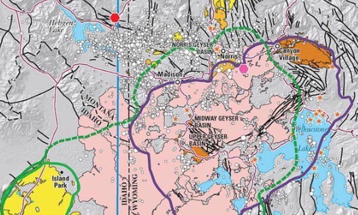 Mapa da caldeira de Yellowstone (Parque Yellowstone)
