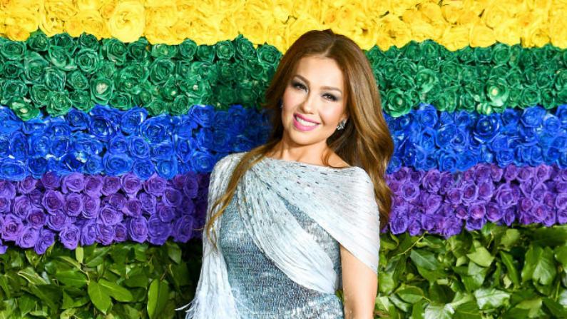 Thalía en la entrega de los Premios Tony en el Radio City Music Hall en Junio del 2019. (Dimitrios Kambouris/Getty Images)