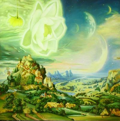 La idea de este óleo que muestra una aldea idílica con una flor de loto sagrada floreciendo en una galaxia distante llegó a Huang Guangyu en un sueño. (Minghui.org)