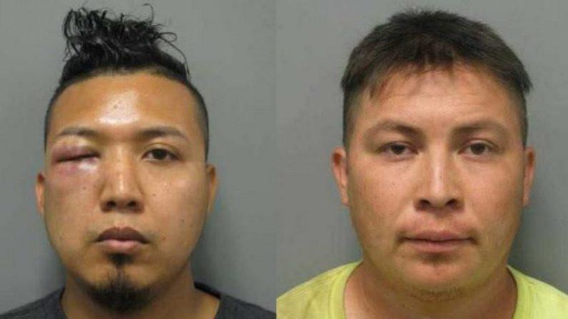 Mauricio Barrera Navidad, de 29 años y Carlos Palacios Amaya, de 28 años, ambos inmigrantes ilegales de El Salvador, violaron a una menor de 11 años, dijo la niña. La policía encontró fotos de la niña con Palacios Amaya en su teléfono celular. (Departamento de Policía del Condado de Montgomery)