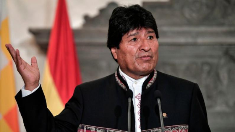 Presidente boliviano Evo Morales faz declarações à imprensa em Atenas em 15 de março de 2019 (LOUISA GOULIAMAKI / AFP / Getty Images)