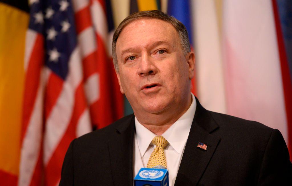 Secretário de Estado dos EUA, Mike Pompeo, em 20 de agosto de 2019 nas Nações Unidas em Nova Iorque (JOHANNES EISELE / AFP / Getty Images)