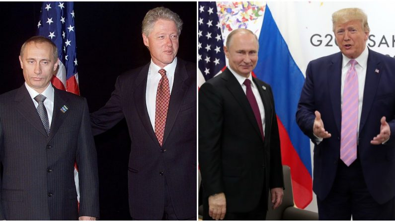 El presidente de EE.UU. Bill Clinton y el Primer Ministro ruso Vladimir Putin, el 12 de septiembre de 1999. (Der) El presidente estadounidense Donald Trump con el presidente ruso Vladimir Putin el 28 de junio de 2019. (STEPHEN JAFFE/MIKHAIL KLIMENTYEV/AFP/Getty Images)