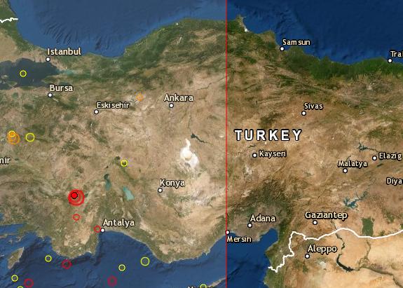 Epicentro del terremoto en turquía a las 11:25 hora UTC del 8 de agosto de 2019. (CSEM)