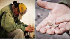 Vagabundo cuenta sus monedas para comprar comida, inesperadamente unos chicos deciden intervenir