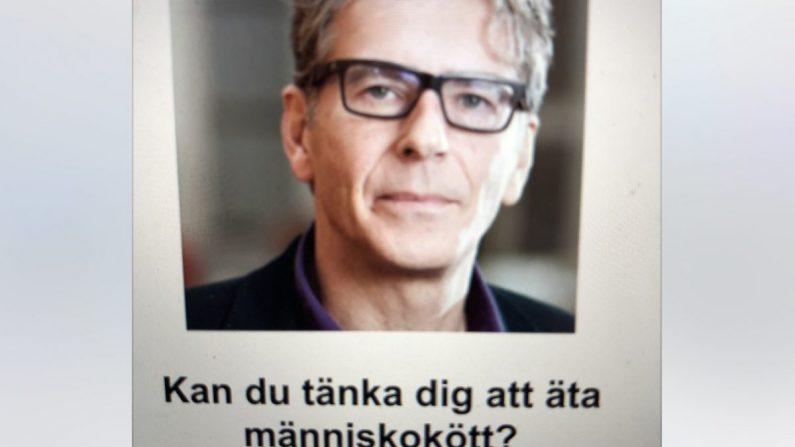 """Una captura de pantalla de un programa de televisión en el que el científico conductista Magnus Söderlund pregunta: """"¿Puedes imaginar comer carne humana?"""" (Captura de pantalla/Sweden Channel 4)"""