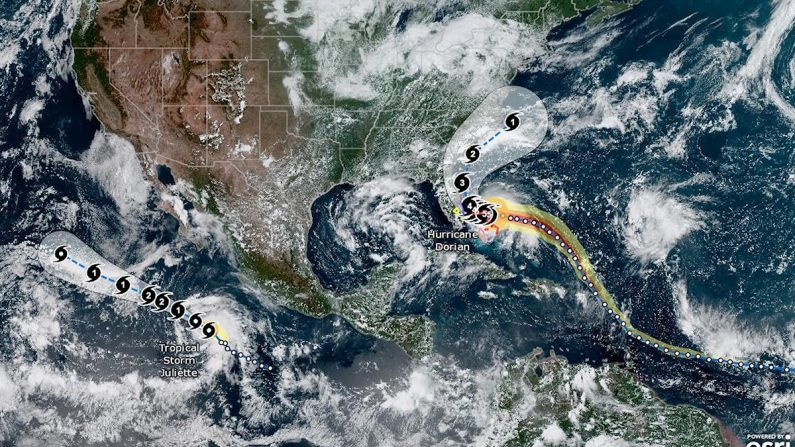 Una foto puesta a disposición por la Administración Nacional Oceánica y Atmosférica de los Estados Unidos (NOAA) que muestra la trayectoria del huracán Dorian y la tormenta tropical Julitte el 01 de septiembre de 2019. (EFE/EPA/NOAA)