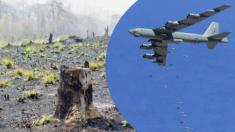 Despliegan aviones militares que bombardean semillas para sembrar árboles en un paisaje desolador