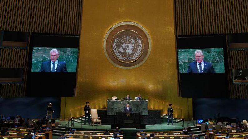 Miguel Díaz-Canel, dictador de Cuba, se dirige al debate general del 73º período de sesiones de la Asamblea General de las Naciones Unidas en Nueva York el 26 de septiembre de 2018. (TIMOTHY A. CLARY/AFP/Getty Images)