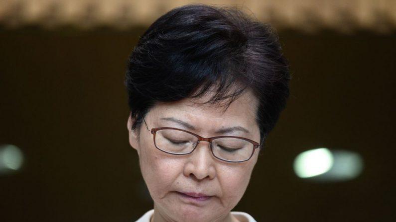 La líder de Hong Kong, Carrie Lam, durante una conferencia de prensa en Hong Kong el 5 de septiembre de 2019. (Philip Fong/AFP/Getty Images)