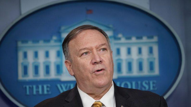 El Secretario de Estado de los Estados Unidos, Mike Pompeo, en conferencia de prensa el 10 de septiembre de 2019, en la Casa Blanca en Washington, DC. (MANDEL NGAN/AFP/Getty Images)