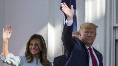 Melania Trump asombra con un hermoso vestido azul al dar la bienvenida al primer ministro australiano