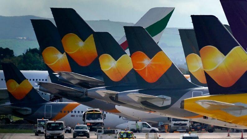 Aviones de Thomas Cook en el aeropuerto de Manchester el 23 de septiembre de 2019 en Manchester, Reino Unido. (Christopher Furlong/Getty Images)
