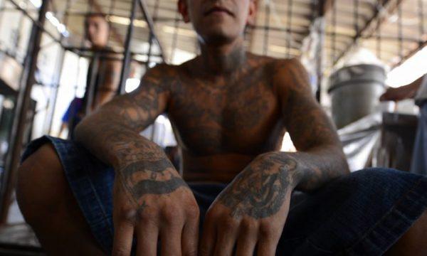 Un miembro de la pandilla MS-13 detenido en San Miguel, El Salvador, el 4 de marzo de 2013. (Marvin Recinos/AFP/Getty Images)