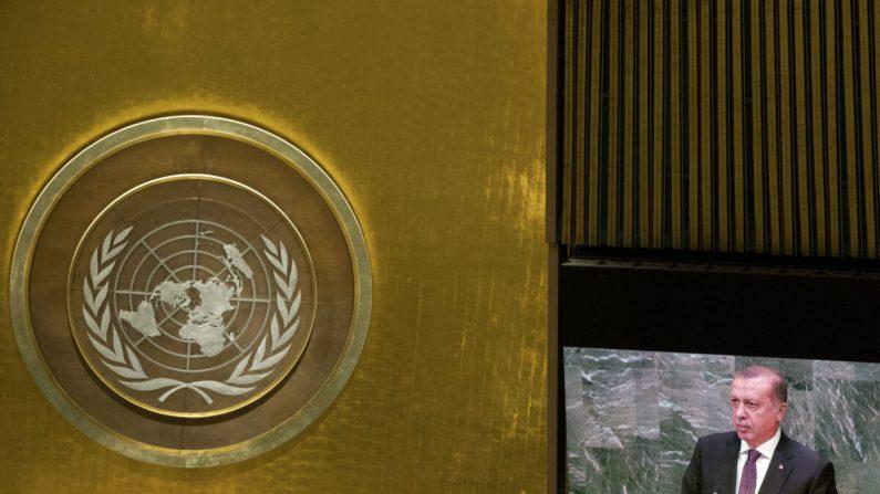 El logotipo de las Naciones Unidas visto en la Asamblea General en la sede de la ONU, 20 de septiembre de 2016 en la ciudad de Nueva York. (Drew Angerer/Getty Images)