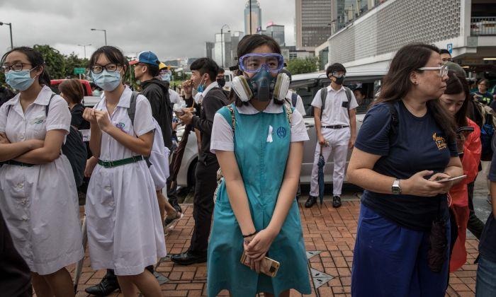 Estudantes participam de um comício de boicote escolar no distrito central de Hong Kong em 2 de setembro de 2019 (Chris McGrath / Getty Images)