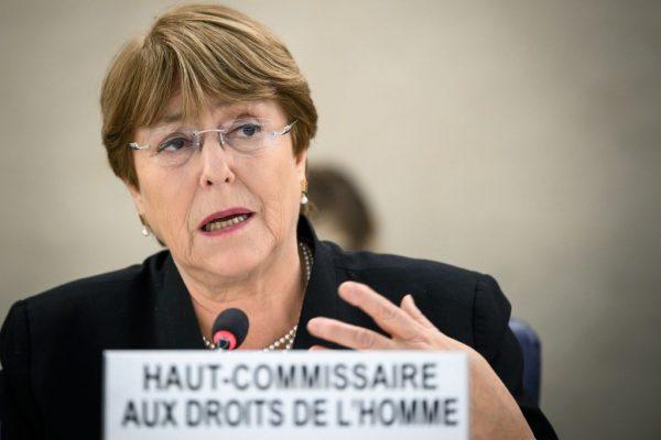 Alta Comissária das Nações Unidas para os Direitos Humanos, Michelle Bachelet, discursa sobre Venezuela e Iêmen durante a 40ª sessão do Conselho de Direitos Humanos das Nações Unidas em 20 de março de 2019 nos escritórios das Nações Unidas em Genebra (FABRICE COFFRINI / AFP / Getty Images)