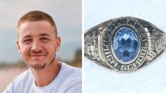 Buzo encuentra anillo de graduación perdido 60 años en el fondo de un lago y decide buscar al dueño
