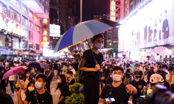Manifestantes se reúnen frente a la estación del Príncipe Eduardo en Hong Kong el 6 de septiembre de 2019. (Philip Fong/AFP/Getty Images)