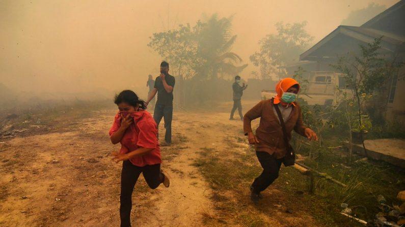 Aldeões fogem quando um incêndio florestal se aproxima perto de sua aldeia em Kampar, Riau, em 22 de setembro de 2019. - A Indonésia está enfrentando incêndios florestais que causam neblina tóxica no sudeste da Ásia com aviões, chuva artificial e até oração, disse o presidente Joko Widodo durante uma visita a um área atingida (Foto de WAHYUDI / AFP / Getty Images)