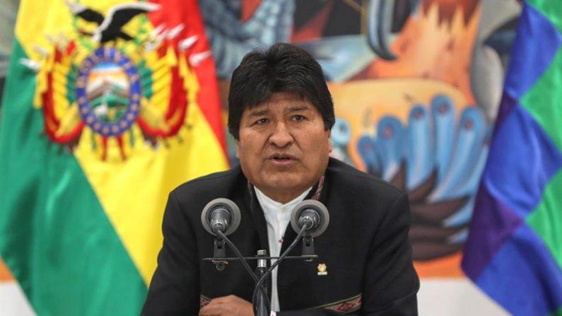 El expresidente de Bolivia, Evo Morales, en una comparecencia ante los medios en La Paz el 23 de octubre de 2019. EFE/Martin Alipaz