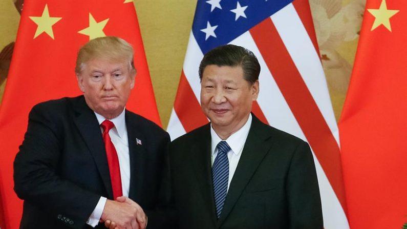 Na foto, o presidente dos EUA Donald J. Trump (e) e o presidente chinês Xi Jinping (d) (EFE / Roman Pilipey / Arquivo)
