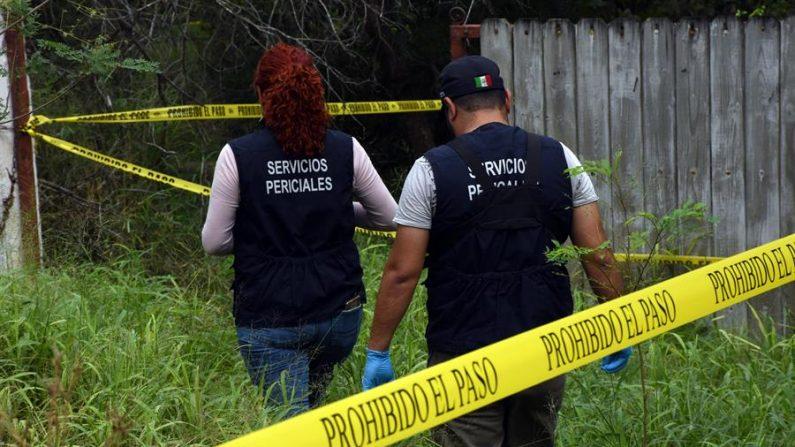 Fuerzas federales exploran la zona donde hallaron una fosa con restos humanos cerca a un puente fronterizo con Estados Unidos, en Reynosa, norteño estado mexicano de Tamaulipas (México), el 21 de octubre de 2019. EFE/Juan Cedillo