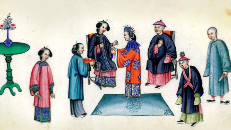 Una boda de la dinastía Qing que muestra a la novia presentando té a su suegra. (Wikimedia Commons)