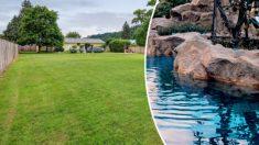¡Cumplió su sueño de niño! Hizo una piscina gigante con casi 2 millones de litros de agua en su patio