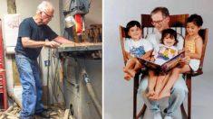 Papá construye una silla mecedora única de tres asientos para que pueda leerle a sus 3 hijos