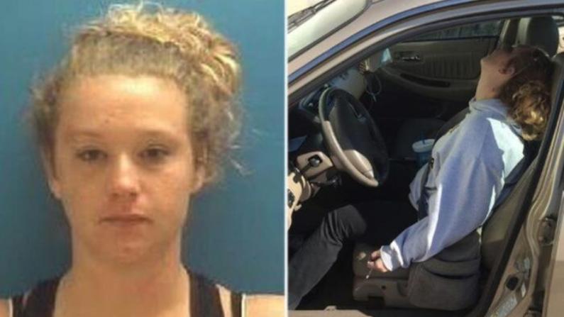 Erika Hurt en una foto de la policía y una foto viral después de su sobredosis (Departamento de Policía de Town of Hope)